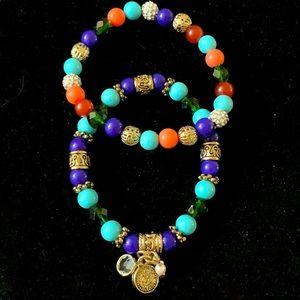 R J Graziano Multi-Colored Stretch set 2 Bracelets